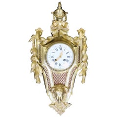 French 19th Century Louis XVI Style Bronze Gilt Cartel Wall Clock