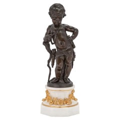 French 19th Century Louis XVI Style Bronze, Marble and Ormolu Statue