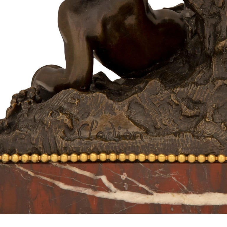 French 19th Century Louis XVI Style Bronze, Ormolu and Marble Statue For Sale 6