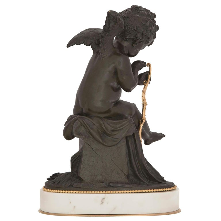 French 19th Century Louis XVI Style Bronze, Ormolu and Marble Statue In Good Condition For Sale In West Palm Beach, FL