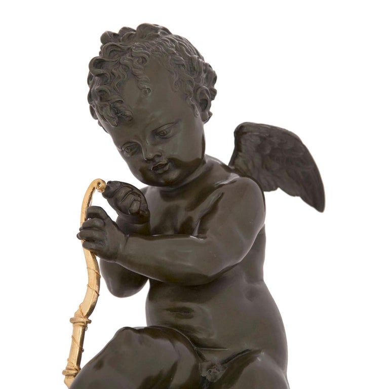 French 19th Century Louis XVI Style Bronze, Ormolu and Marble Statue For Sale 1