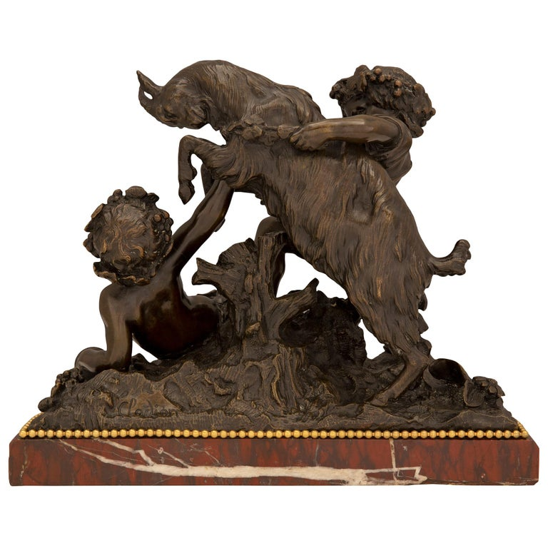 French 19th Century Louis XVI Style Bronze, Ormolu and Marble Statue For Sale 5