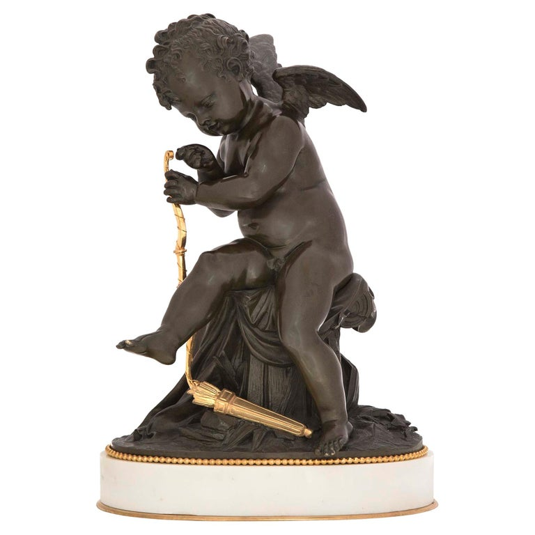 French 19th Century Louis XVI Style Bronze, Ormolu and Marble Statue For Sale
