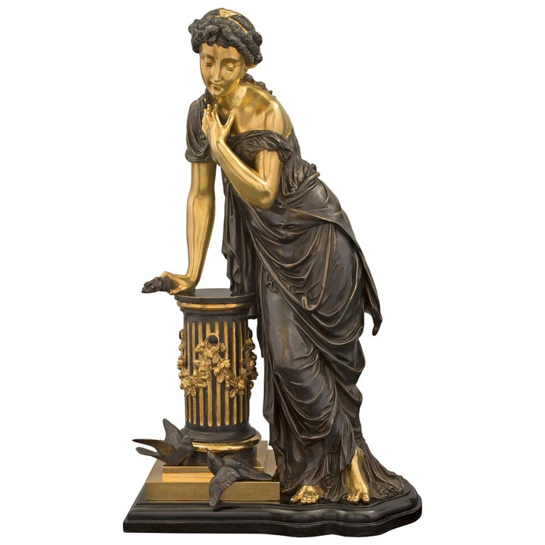 French 19th Century Louis XVI Style Bronze Statue of a Maiden For Sale