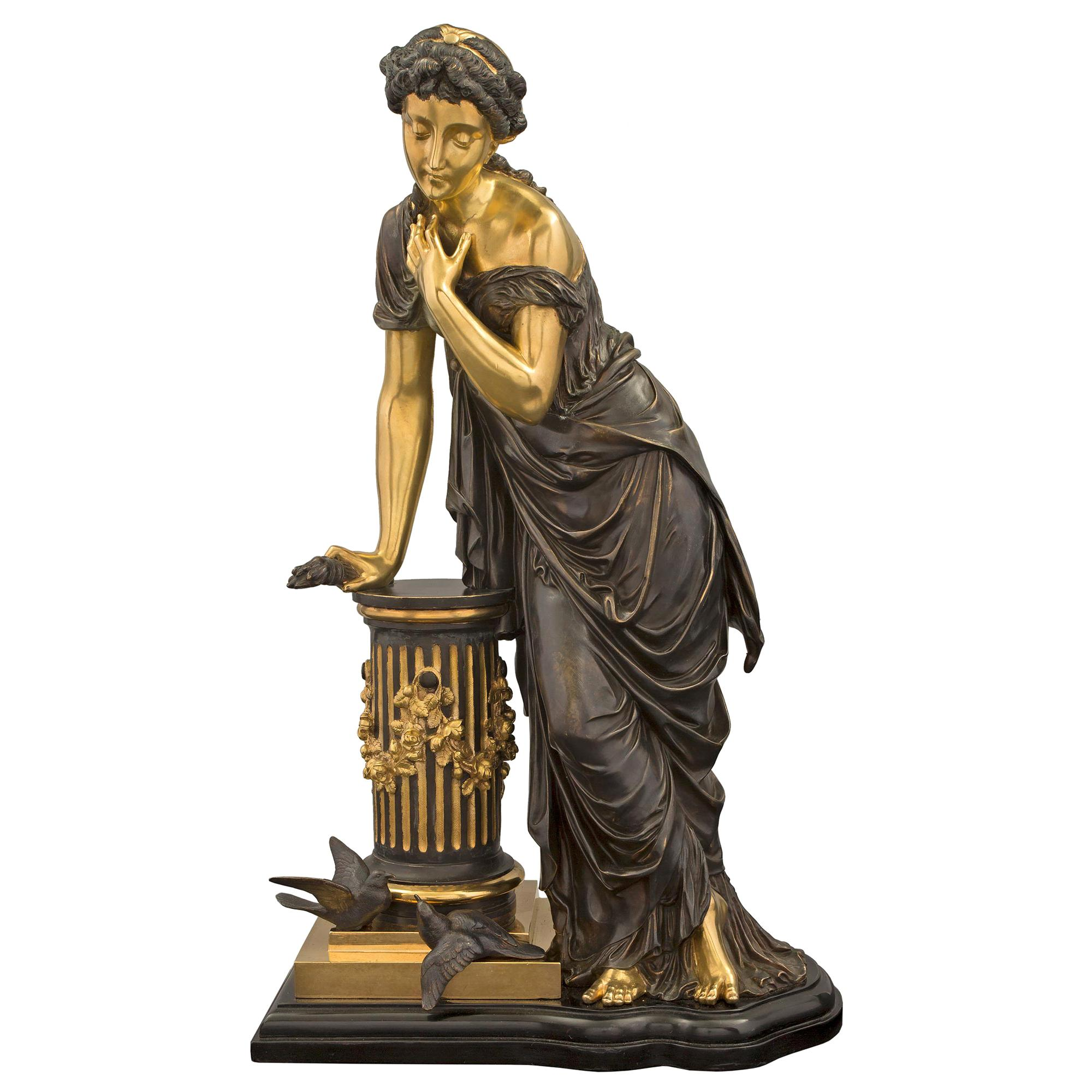 French 19th Century Louis XVI Style Bronze Statue of a Maiden