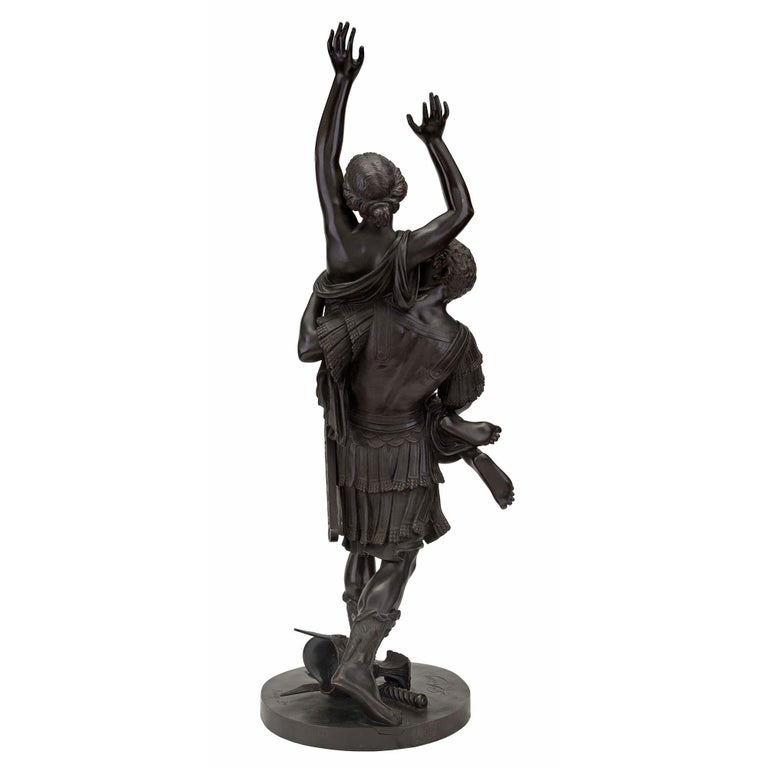 Patinated French 19th Century Louis XVI Style Bronze Statue of L'Enlevement des Sabines For Sale