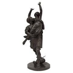 French 19th Century Louis XVI Style Bronze Statue of L'Enlevement des Sabines