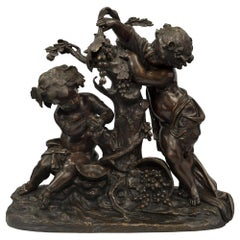 French 19th Century Louis XVI Style Bronze Statue of Two Cherubs, Signed Clodion