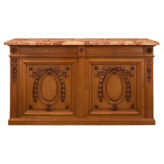 French 19th Century Louis XVI Style Cherrywood and Sarrancolin Marble Buffet