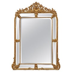 French 19th Century Louis XVI Style Double Framed Giltwood Mirror