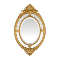 French 19th Century Louis XVI Style Double Framed Oval Giltwood Mirror