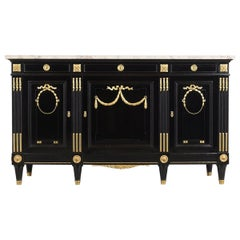 French 19th Century Louis XVI Style Ebonized Buffet