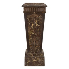 French 19th Century Louis XVI Style Faux Marble and Patinated Pedestal