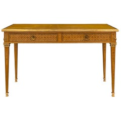 French 19th Century Louis XVI Style Fruitwood and Charm Wood Desk