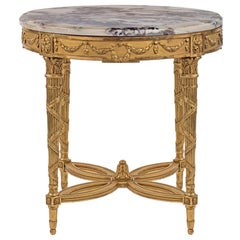 French 19th Century Louis XVI Style Giltwood and Brèche Médicis Centre Table