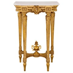 French 19th Century Louis XVI Style Giltwood and Carrara Marble Console
