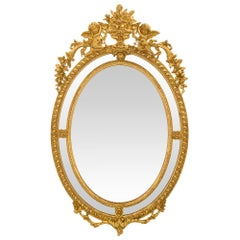 French 19th Century Louis XVI Style Giltwood Double Framed Oval Mirror