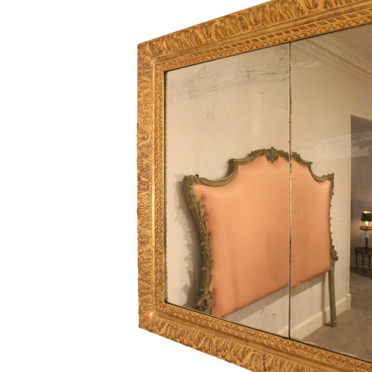 French 19th Century Louis XVI Style Giltwood Mirror In Excellent Condition For Sale In West Palm Beach, FL