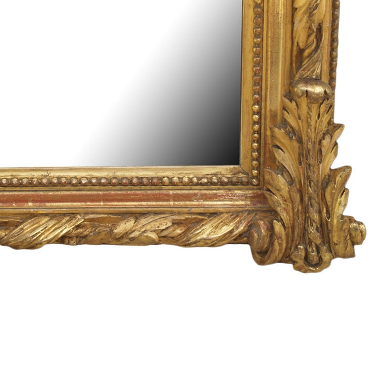 French 19th Century Louis XVI Style Giltwood Mirror For Sale 1