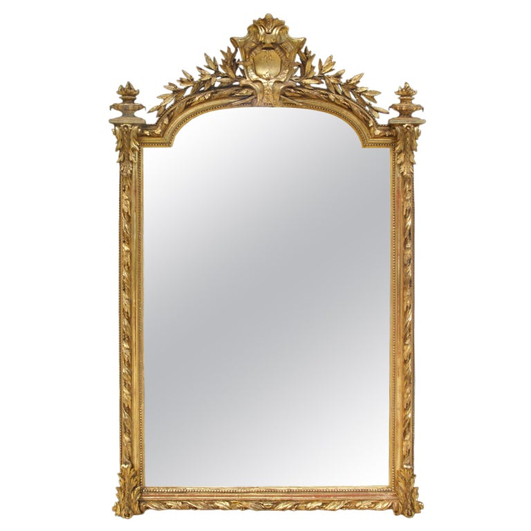 French 19th Century Louis XVI Style Giltwood Mirror For Sale
