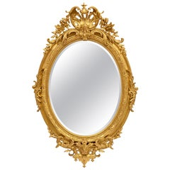 French 19th Century Louis XVI Style Giltwood Oval Mirror
