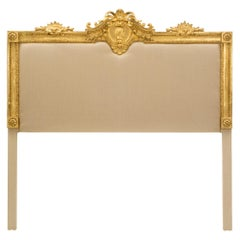 French 19th Century Louis XVI Style Giltwood Upholstered Headboard