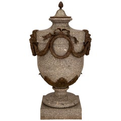 French 19th Century Louis XVI Style Granite and Patinated Bronze Lidded Urn