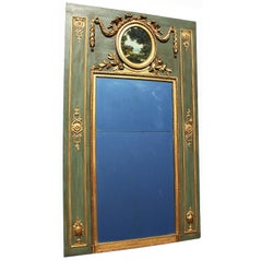French 19th Century Louis XVI Style Green & Giltwood Carved Trumeu Mirror Frame