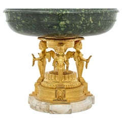 French 19th Century Louis XVI Style Green Porphyry and Ormolu Tazza