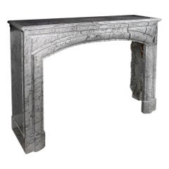 French 19th Century Louis XVI Style Gris St. Anne Marble Mantel