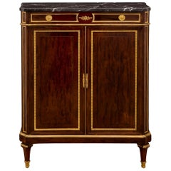 French 19th Century Louis XVI Style Mahogany and Marble Cabinet