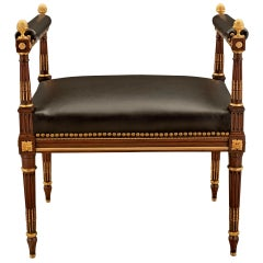 French 19th Century Louis XVI Style Mahogany and Ormolu Bench