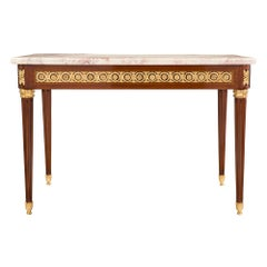French 19th Century Louis XVI Style Mahogany and Ormolu Center Table