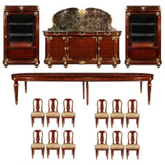 French 19th Century Louis XVI Style Mahogany and Ormolu Complete Dining Suite
