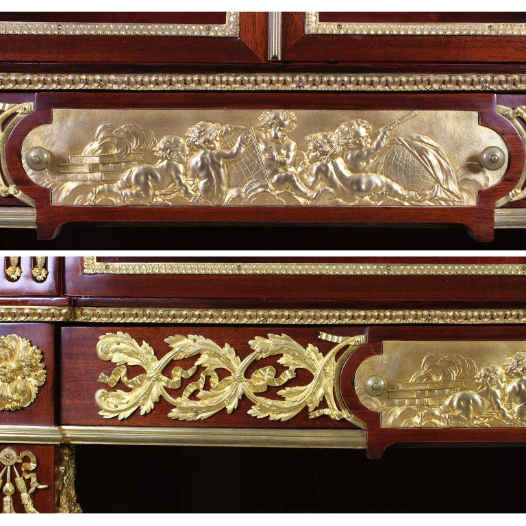 French 19th Century Louis XVI Style Mahogany and Ormolu Mounted Two-Door Vitrine For Sale 7