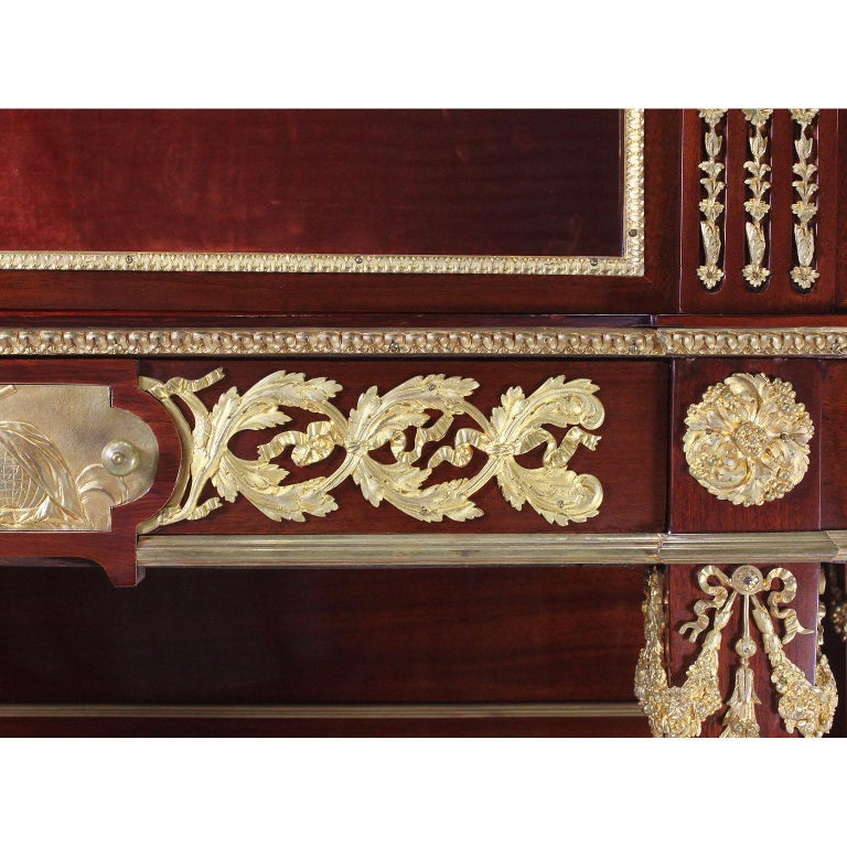 French 19th Century Louis XVI Style Mahogany and Ormolu Mounted Two-Door Vitrine For Sale 8