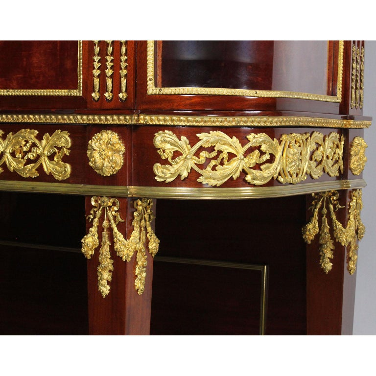French 19th Century Louis XVI Style Mahogany and Ormolu Mounted Two-Door Vitrine For Sale 9
