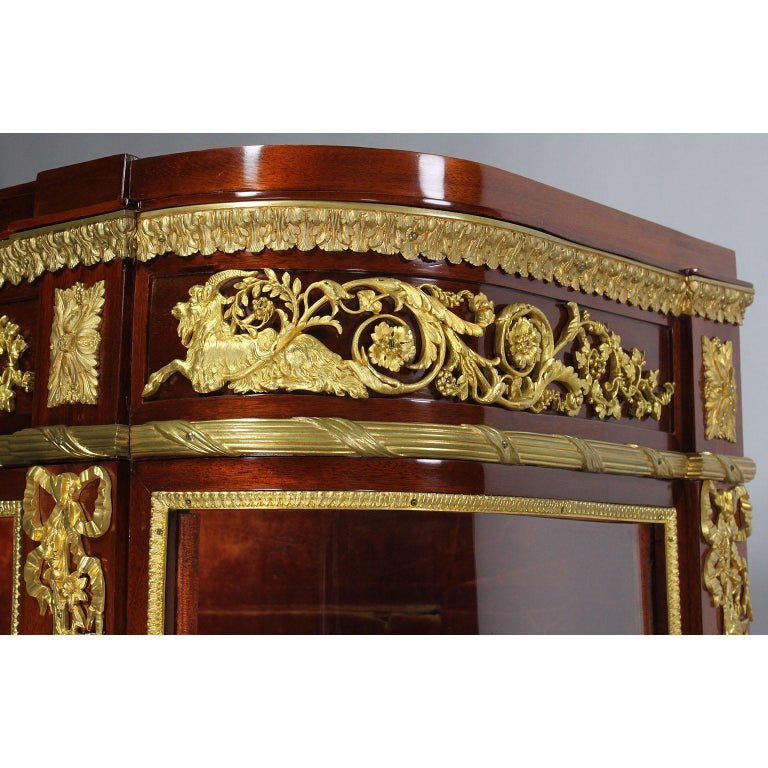 French 19th Century Louis XVI Style Mahogany and Ormolu Mounted Two-Door Vitrine For Sale 3