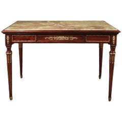 French 19th Century Louis XVI Style Mahogany, Onyx and Ormolu Table