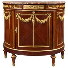 French 19th Century Louis XVI Style Mahogany, Ormolu and Marble Buffet