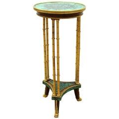 French 19th Century Louis XVI Style Malachite Gueridon Table with Ormolu Mounts
