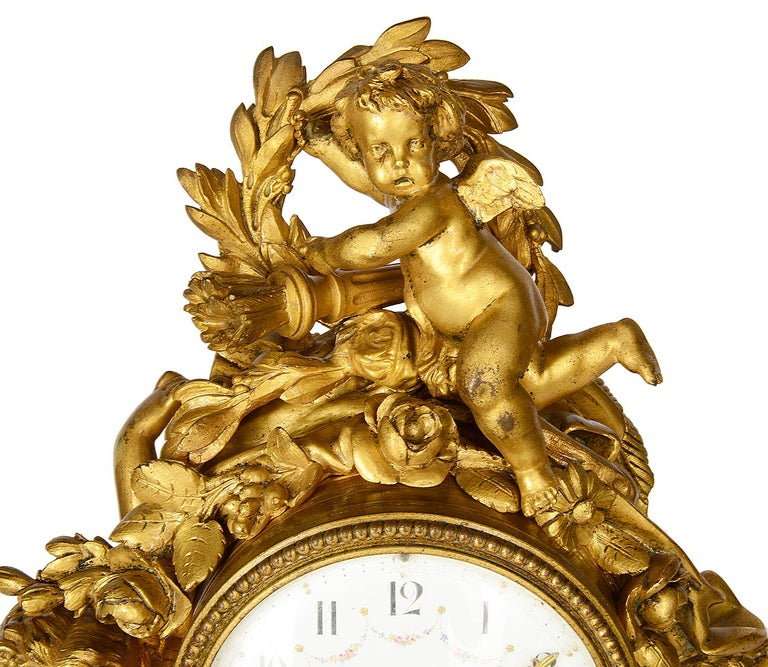 Carved French 19th Century Louis XVI Style Mantel Clock For Sale