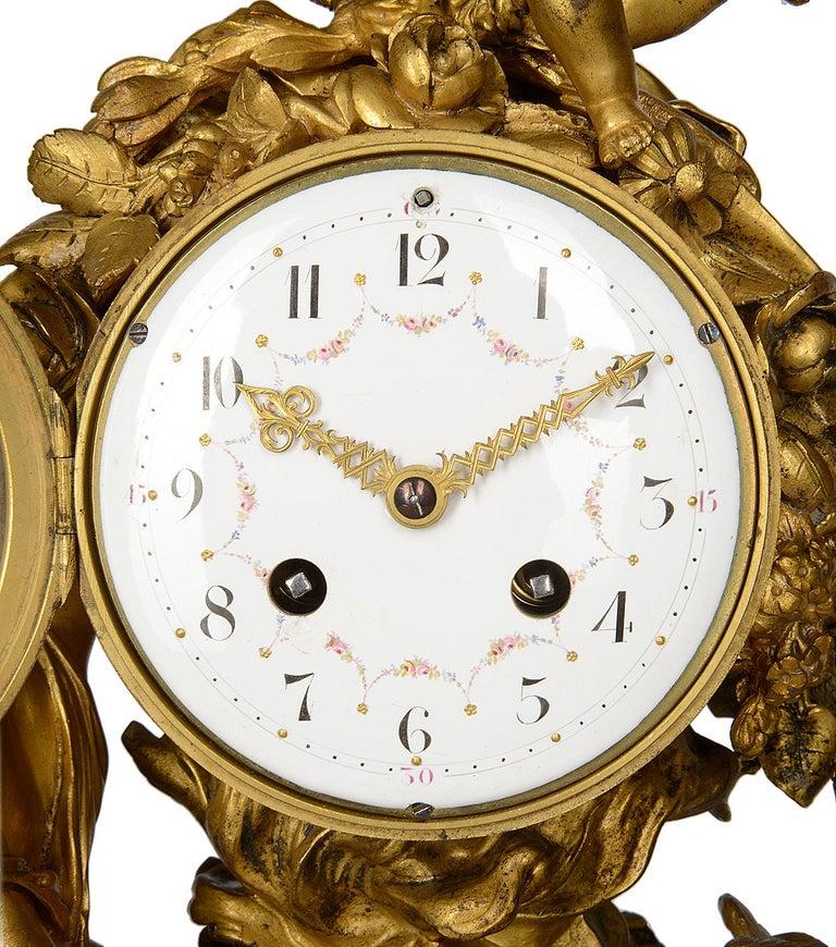 Ormolu French 19th Century Louis XVI Style Mantel Clock For Sale