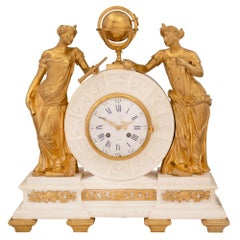 French 19th Century Louis XVI Style Marble and Ormolu Clock, by Alix À, Paris
