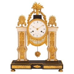 French 19th Century Louis XVI Style Marble and Ormolu Clock