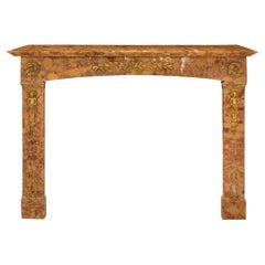 French 19th Century Louis XVI Style Marble and Ormolu Fireplace Mantel