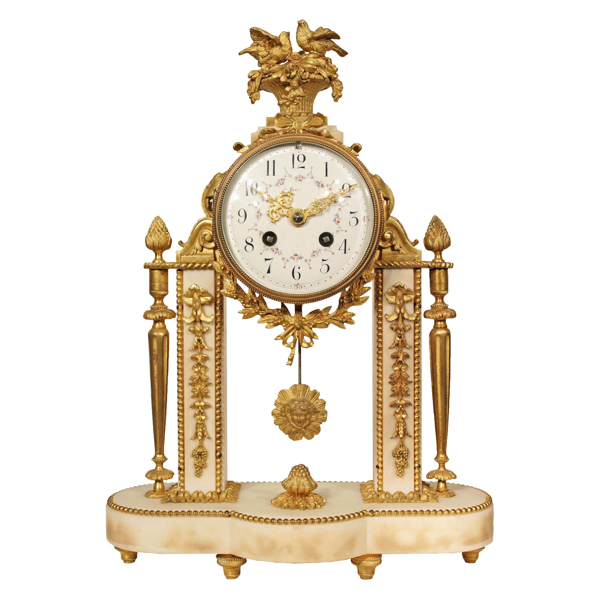 French 19th Century Louis XVI Style Marble and Ormolu Portique Clock
