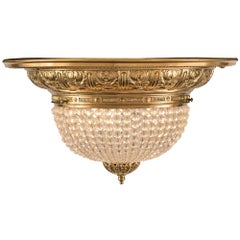 French 19th Century Louis XVI Style Ormolu and Baccarat Crystal Plafonnier