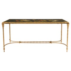 French 19th Century Louis XVI Style Ormolu and Black Lacquered Coffee Table