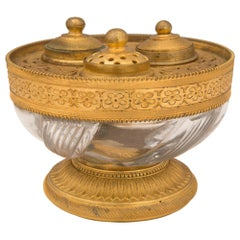 French 19th Century Louis XVI Style Ormolu and Crystal Inkwell